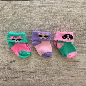 NWOT! Baby Girl Socks, Set of 3 Pairs, 0-6mo
